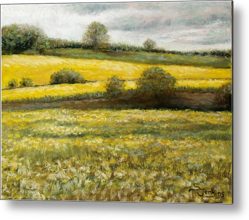 Landscape Metal Print featuring the painting Yellow Fields by Susan Jenkins