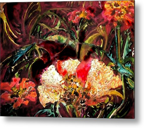 Gold Leaf Metal Print featuring the painting Yupo With Gold Leaf by Mary Sonya Conti