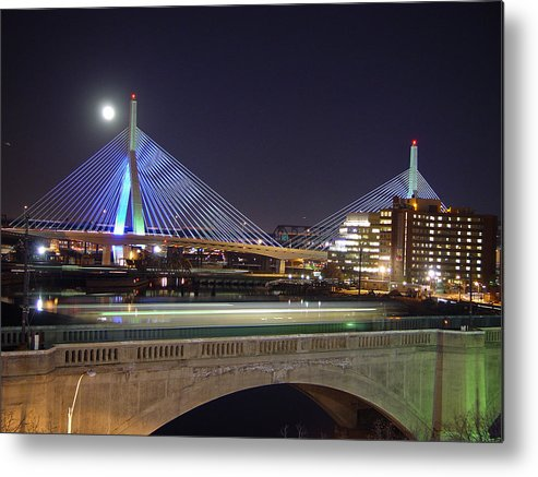 Night Metal Print featuring the photograph Zakim Bridge by Eric Workman