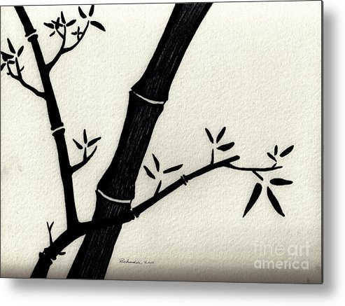 Abstract Metal Print featuring the drawing Zen Sumi Antique Bamboo 2a Black Ink On Fine Art Watercolor Paper By Ricardos by Ricardos Creations