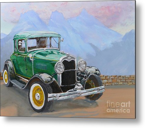 Painting Metal Print featuring the painting 1932 Ford Model A by Mohamed Hirji