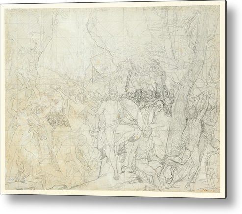 Jacques-louis David Metal Print featuring the painting Leonidas At Thermopylae by Jacques Louis David