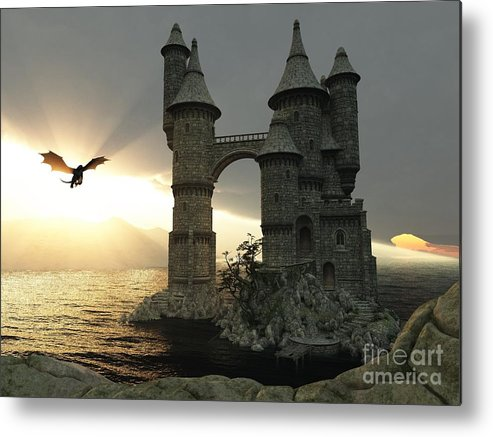 Fantasy Metal Print featuring the digital art 3d Illustration Fantasy Landscape With by E71lena
