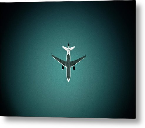 Outdoors Metal Print featuring the photograph Airplane Silhouette by Miikka S Luotio