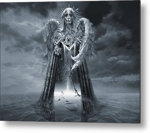 Angel Metal Print featuring the digital art Angels And Demons Spirit Of Repentance And Hope Bw by George Grie