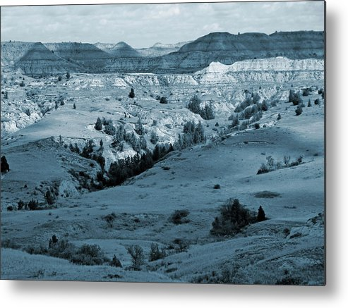 North Dakota Metal Print featuring the photograph Badlands Shadows And Sunlight by Cris Fulton
