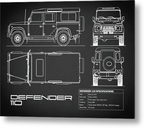 Defender 110 Blueprint Metal Print featuring the photograph Defender 110 Blueprint Black by Mark Rogan