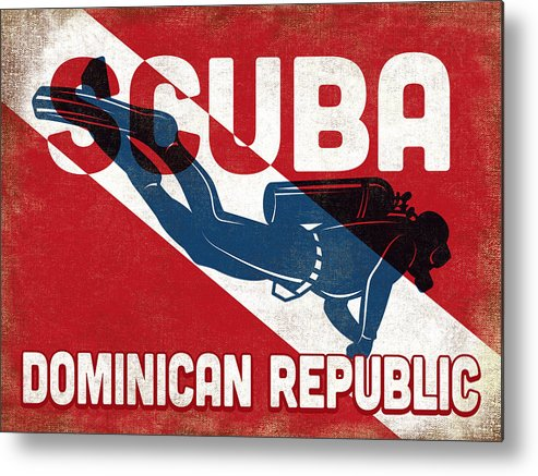 Dominican Republic Metal Print featuring the digital art Dominican Republic Scuba Diver - Blue Retro by Flo Karp