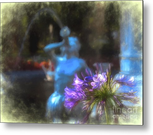 Forsyth Metal Print featuring the digital art Expressive Flower And Fountain At Forsyth Park by Amy Dundon