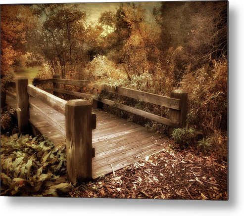Footbridge Metal Print featuring the photograph Footbridge Crossing by Jessica Jenney