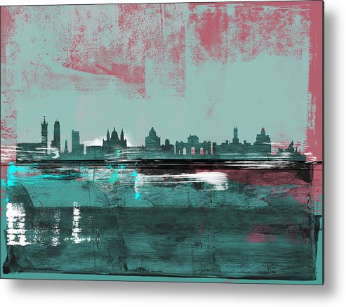 Madrid Metal Print featuring the mixed media Madrid Abstract Skyline by Naxart Studio