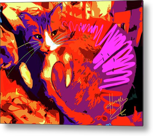 Dizzycats Metal Print featuring the painting Pop Cat Tiger by DC Langer