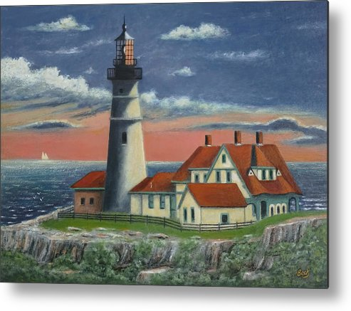 Cape Metal Print featuring the painting Portland Head Light by Gordon Beck