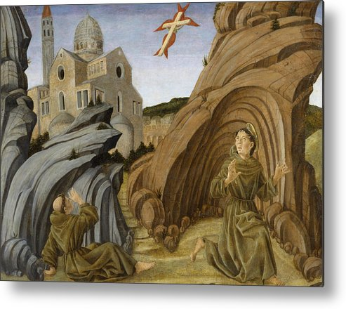 15th Century Art Metal Print featuring the painting Saint Francis Receiving The Stigmata by Marco Zoppo