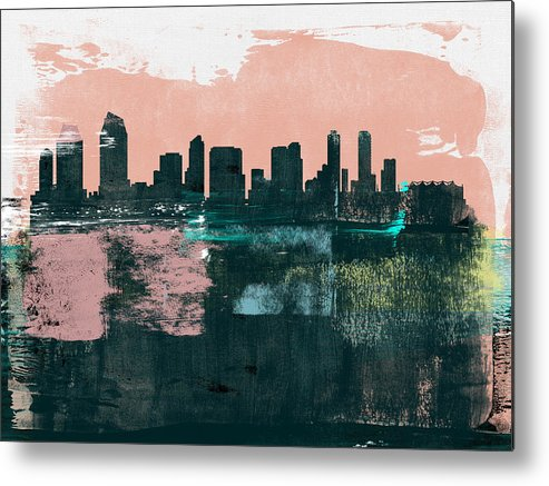 San Diego Metal Print featuring the mixed media San Diego Abstract Skyline I by Naxart Studio