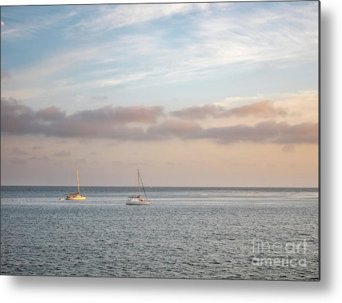 California Metal Print featuring the photograph Two Sail Boats In Ocean Sea Facing The Sunset During The Golden by PorqueNo Studios