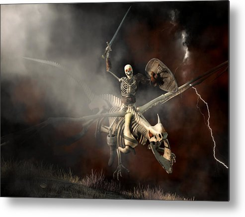 Skeleton Metal Print featuring the digital art Undead Dragon And Skeleton Rider by Daniel Eskridge