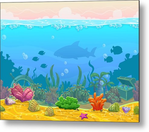 Play Metal Print featuring the digital art Underwater Seamless Landscape by Lilu330