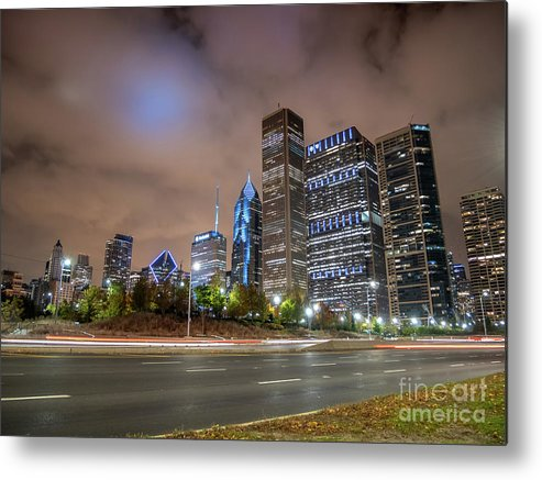 Downtown Metal Print featuring the photograph View Of Chicago Skyscrappers With Busy Street In The Foreground by PorqueNo Studios