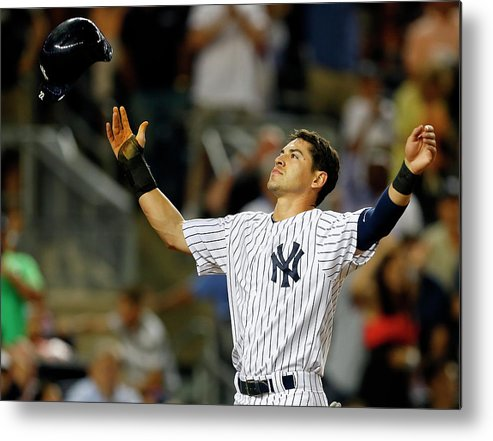 Headwear Metal Print featuring the photograph Jacoby Ellsbury And Mark Teixeira by Rich Schultz