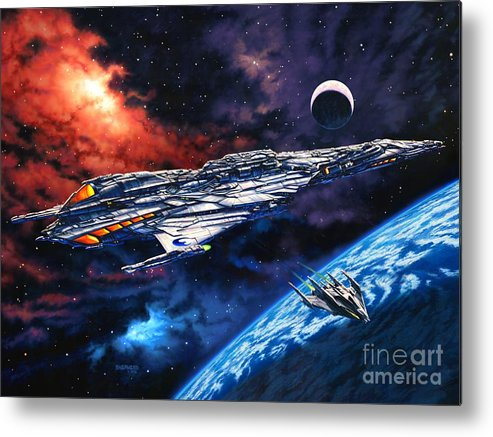 Space Ship Metal Print featuring the painting The Anprall by Stu Shepherd
