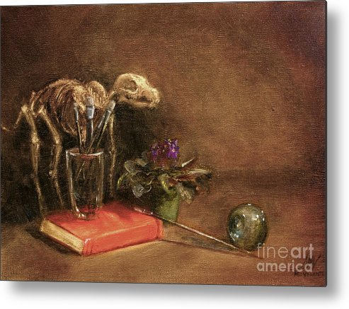 Dog Metal Print featuring the painting The Artist's Taboret- Cave Canum by Stella Violano