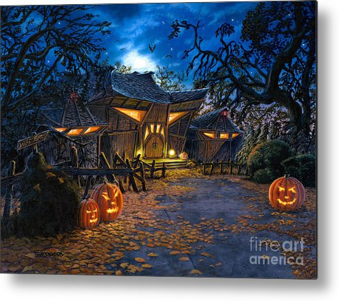 Haunted House Metal Print featuring the painting The House At Dead End by Stu Shepherd