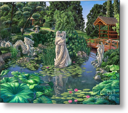 Oriental Garden Metal Print featuring the painting The Romance Garden by Stu Shepherd