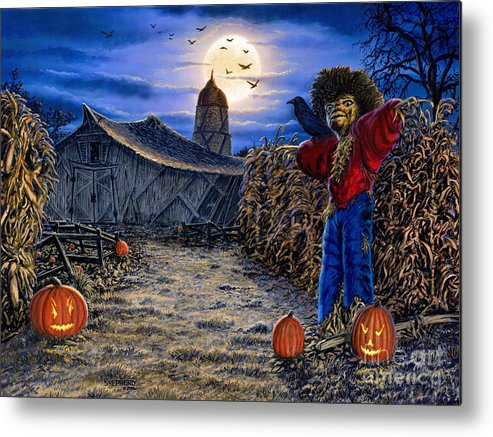 Halloween Metal Print featuring the painting The Spooky Scarecrow by Stu Shepherd