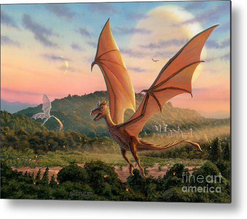 Dragon Metal Print featuring the painting The Training Fields by Stu Shepherd