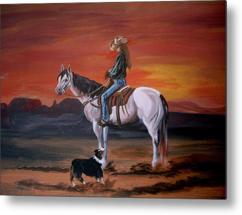 Desert Metal Print featuring the painting Friends Sharing A Sunset by Glenda Smith