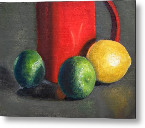 Still Life Metal Print featuring the painting Lemon And Limes by Becky Alden