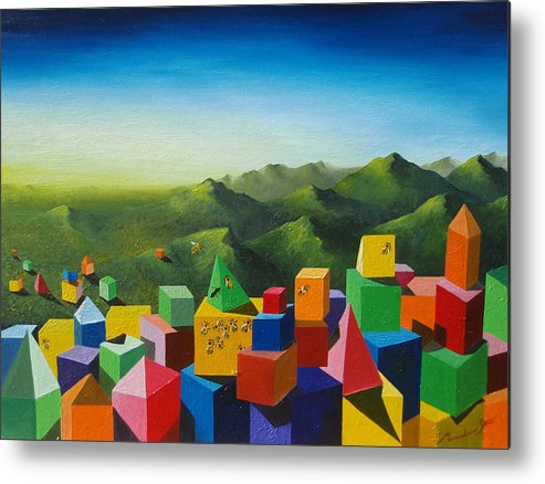 Cubes Metal Print featuring the painting Neverland by Massimiliano Stanco