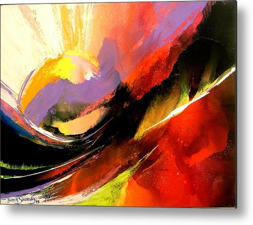 Abstract Metal Print featuring the painting Sunset by Yvette Sikorsky