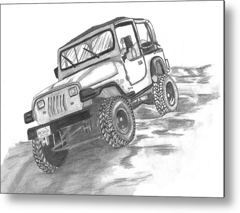 Jeep Metal Print featuring the drawing 94 Jeep Wrangler by Crystal Suppes