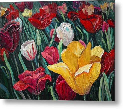 Floral Metal Print featuring the painting Tulips by Cathy Fuchs-Holman