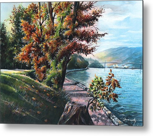 Lanscape Metal Print featuring the painting October Visiting Stanley Park Bc by Dumitru Barliga