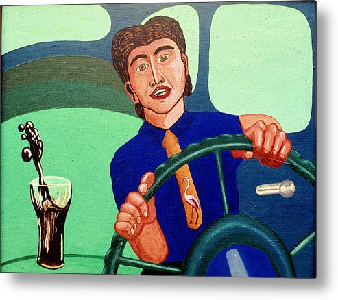 Surreal Fantasy Portraits Metal Print featuring the print Man Driving With Coke by Paul Knotter