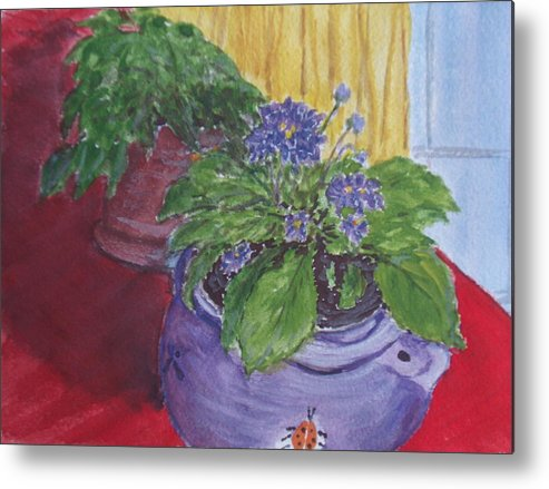 Still Life Metal Print featuring the painting Dads Violets by Pete Maier