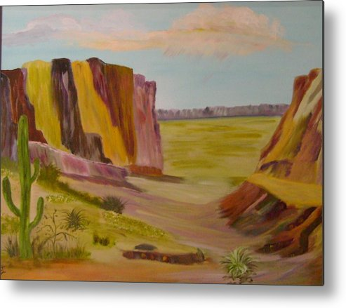 Southwest Metal Print featuring the painting Southwest Mountains by Dottie Briggs