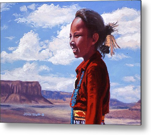 Navajo Indian Southwestern Monument Valley Metal Print featuring the painting Futures Bright by John Watt