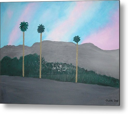 Desert Metal Print featuring the painting Three Palm Trees In The Desert by Harris Gulko