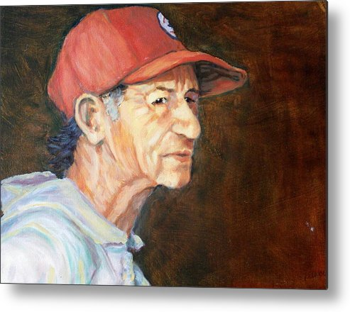 Old Man Metal Print featuring the painting Man In Red Cap by Ruth Mabee