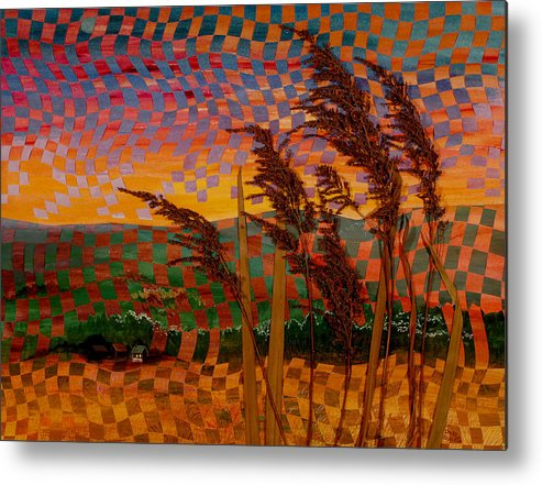 Landscape Metal Print featuring the painting Valley Sunset by Linda L Doucette