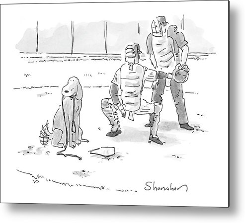 Sports Pets Dogs Baseball Homeplate Walk Metal Print featuring the drawing New Yorker October 10th, 2005 by Danny Shanahan