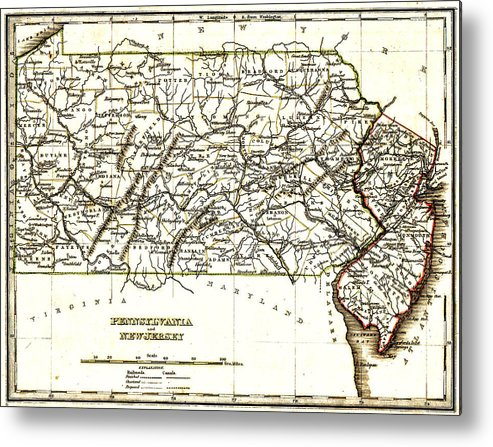 1835 Pennsylvania And New Jersey Map Metal Print featuring the drawing 1835 Pennsylvania And New Jersey Map by Bill Cannon
