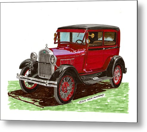 Framed Prints Of 1928 Model A Ford Two Door Sedans Metal Print featuring the painting 1928 Ford Model A Two Door by Jack Pumphrey