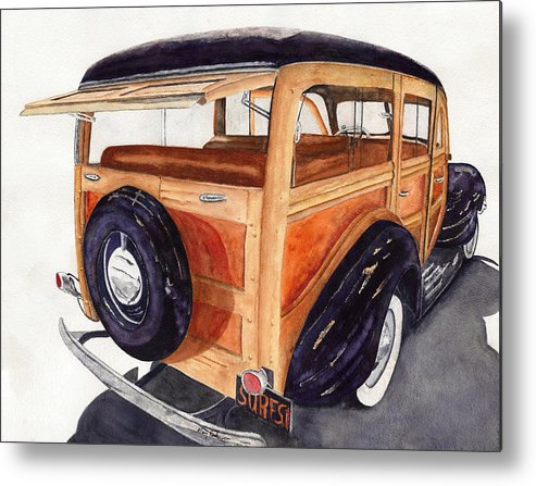 Woodies Metal Print featuring the painting 1940 Ford Woody by Gary Roderer