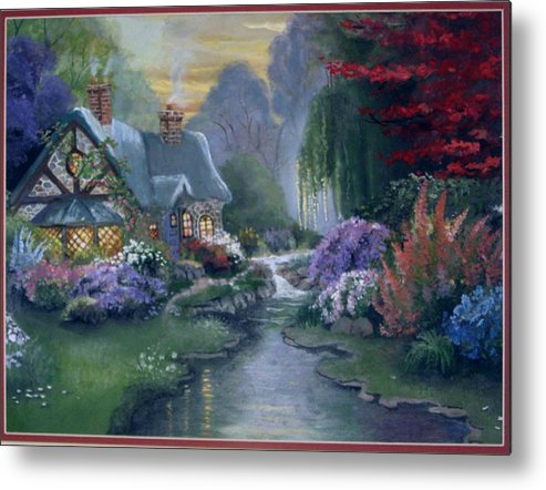Landscape Metal Print featuring the painting Gayles Heaven by Pamela Powers