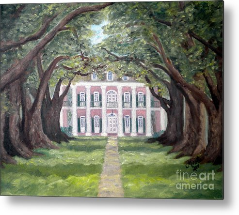 Oak Alley Metal Print featuring the painting Oak Alley Plantation by Mona Stilson